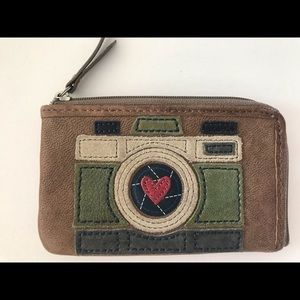 Fossil leather camera coin purse keychain